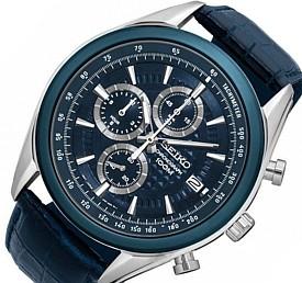 SEIKO/Chronograph【セイコー/クロノグラフ】メンズ腕時計 ネイビーレザーベルト ネイビー文字盤 SSB177P2 海外モデル【並行輸入品】