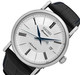 SEIKO/Premier【セイコー/プルミエ】自動巻 メンズ腕時計 ブラックレザーベルト ホワイト文字盤 MADE IN JAPAN 海外モデル【並行輸入品】 SRPA17J2