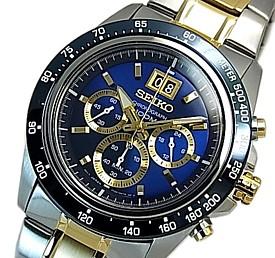 SEIKO/LORD【セイコー/ロード】クロノグラフ メンズ腕時計 コンビメタルベルト ネイビー/ゴールド文字盤 海外モデル【並行輸入品】SPC239P1