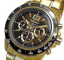 SEIKO/LORD【セイコー/ロード】クロノグラフ メンズ腕時計 ゴールドメタルベルト ブラウン/ゴールド文字盤 海外モデル【並行輸入品】SPC236P1