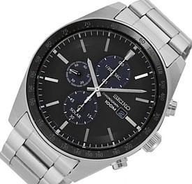 SEIKO/Chronograph【セイコー/クロノグラフ】メンズ ソーラー腕時計 メタルベルト ブラック文字盤 SSC715P1 海外モデル【並行輸入品】