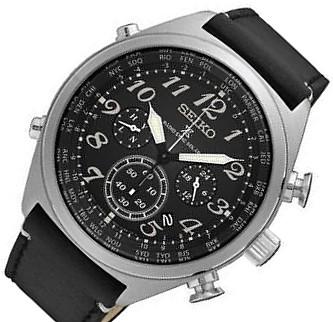SEIKO/PROSPEX【セイコー/プロスペックス】ソーラー電波腕時計 クロノグラフ メンズ ブラックレザーベルト ブラック文字盤 海外モデル【並行輸入品】 SSG013P1