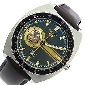 SEIKO/SEIKO5 Sports【セイコー5スポーツ/ファイブスポーツ】自動巻 メンズ腕時計 ブラウンレザーベルト グリーン文字盤 MADE IN JAPAN 海外モデル【並行輸入品】 SSA333J1