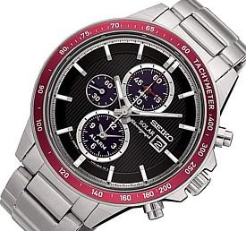 SEIKO/Alarm Chronograph【セイコー/アラームクロノグラフ】メンズ ソーラー腕時計 レッドベゼル メタルベルト ブラック文字盤 SSC433P1 海外モデル【並行輸入品】