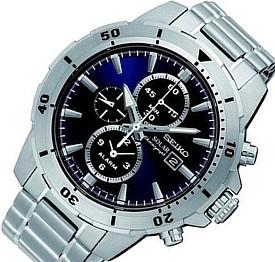 SEIKO/Alarm Chronograph【セイコー/アラームクロノグラフ】メンズ ソーラー腕時計 メタルベルト ネイビー文字盤 海外モデル【並行輸入品】SSC555P1