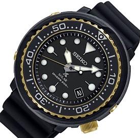 SEIKO/PROSPEX【セイコー/プロスペックス】メンズ DIVER'S/ダイバーズウォッチ ソーラー腕時計 ラバーベルト ブラック/ゴールド 海外モデル【並行輸入品】 SNE498P1