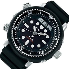 SEIKO/PROSPEX【セイコー/プロスペックス】メンズ DIVER'S/ダイバーズウォッチ アナデジ ソーラー腕時計 ラバーベルト ブラック 海外モデル【並行輸入品】 SNJ025P1