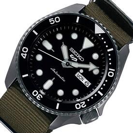 SEIKO/SEIKO5 Sports【セイコー5スポーツ/ファイブスポーツ】自動巻 メンズ腕時計 モスグリーンナイロンべルト ブラック文字盤 海外モデル【並行輸入品】SRPD91K1