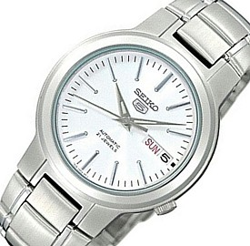 SEIKO/SEIKO5【セイコー5/セイコーファイブ】自動巻 メンズ腕時計 メタルベルト ホワイト文字盤 SNKA01K1 海外モデル【並行輸入品】