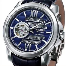 SEIKO/Premier【セイコー/プルミエ】自動巻 スケルトン メンズ腕時計 ネイビーレザーベルト ネイビー文字盤 MADE IN JAPAN 海外モデル【並行輸入品】 SSA399J1