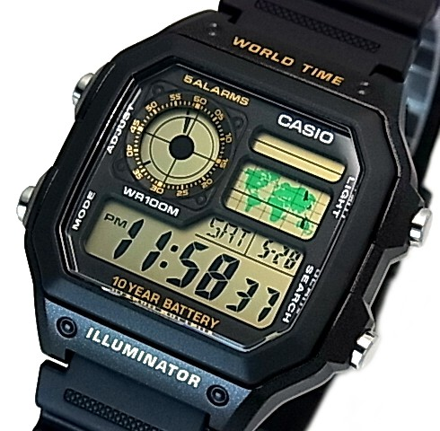 Bright rakuten global market casiostandard digital world map casiostandard digital world map indication world thyme men watch black rubber belt foreign countries model ae 1200wh 1b gumiabroncs Image collections