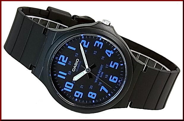 detailed look 3d048 5013c CASIO/Standard analog quartz men watch rubber belt black / blue foreign  countries model MW-240-2B