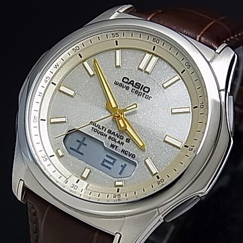 CASIO/Wave Ceptor【カシオ/ウェーブセプター】メンズ腕時計 ソーラー電波腕時計 シャンパン文字盤 ブラウンレザーベルト(国内正規品)WVA-M630L-9AJF