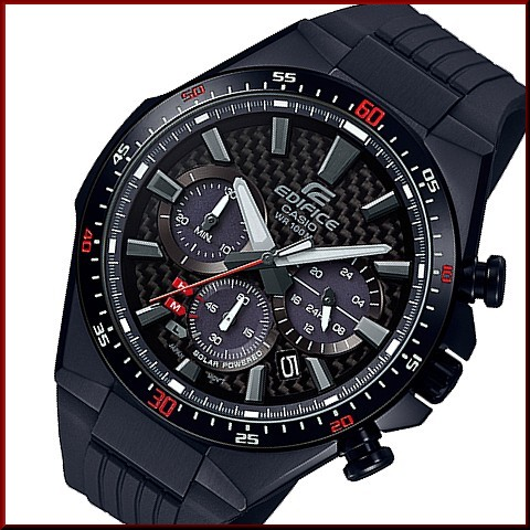 c6edf0a12 BRIGHT: CASIO/EDIFICE solar watch chronograph Men's black (carbon ...