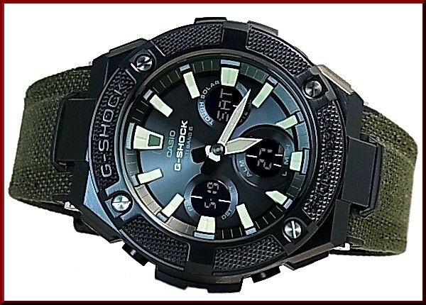 Casio G Shock G Steel Solar Radio Wave Watch Men S Black Dial Moss Green Cloth Tough Leather Strap Gst W130bc 1a3jf Japan Official Product