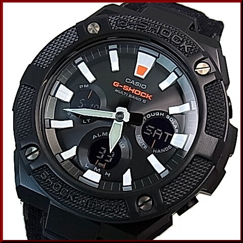 Casio G Shock G Steel Solar Radio Wave Watch Men S Black Dial Black Cloth Tough Leather Strap Gst W130bc 1ajf Japan Official Product