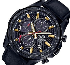 CASIO/EDIFICE【カシオ/エディフィス】ソーラー腕時計 クロノグラフ メンズ ブラック(カーボンファイバー)文字盤 ブラックレザーベルト 海外モデル【並行輸入品】 EQS-900CL-1AV
