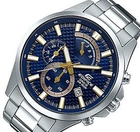 CASIO/EDIFICE【カシオ/エディフィス】レトログラード クロノグラフ メンズ腕時計 ネイビー文字盤 メタルベルト 海外モデル【並行輸入品】 EFV-530D-2AV