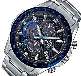 CASIO/EDIFICE【カシオ/エディフィス】ソーラー腕時計 クロノグラフ メンズ ネイビーベゼル カーボンファイバー文字盤 メタルベルト 海外モデル【並行輸入品】 EQS-900DB-2AV