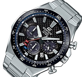 CASIO/EDIFICE【カシオ/エディフィス】ソーラー腕時計 クロノグラフ メンズ ブラック(カーボンファイバー)文字盤 メタルベルト 海外モデル【並行輸入品】 EQS-800CDB-1AV