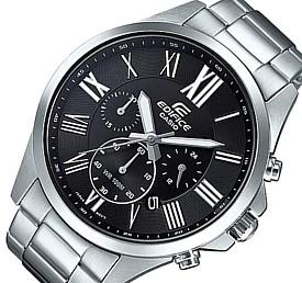 CASIO/EDIFICE【カシオ/エディフィス】クロノグラフ メンズ腕時計 ブラック文字盤 メタルベルト 海外モデル【並行輸入品】EFV-500D-1AV
