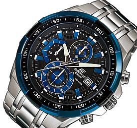 CASIO/EDIFICE【カシオ/エディフィス】クロノグラフ メンズ腕時計 ブラック/ブルー文字盤 メタルベルト 海外モデル【並行輸入品】 EFR-539D-1A2V