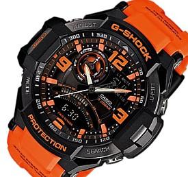 CASIO/G-SHOCK【カシオ/Gショック】SKY COCKPIT/スカイコックピット メンズ腕時計 ツインセンサー搭載 オレンジ/ブラック 海外モデル【並行輸入品】GA-1000-4A