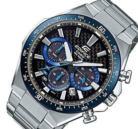 CASIO/EDIFICE【カシオ/エディフィス】ソーラー腕時計 クロノグラフ メンズ ブラック(カーボンファイバー)/ブルー文字盤 メタルベルト 海外モデル【並行輸入品】 EQS-800CDB-1BV