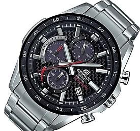 CASIO/EDIFICE【カシオ/エディフィス】ソーラー腕時計 クロノグラフ メンズ ブラックベゼル カーボンファイバー文字盤 メタルベルト 海外モデル【並行輸入品】 EQS-900DB-1AV