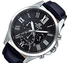 CASIO/EDIFICE【カシオ/エディフィス】クロノグラフ メンズ腕時計 ブラック文字盤 ブラックレザーベルト 海外モデル【並行輸入品】EFV-500L-1AV