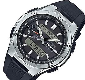 CASIO/Wave Ceptor【カシオ/ウェーブセプター】メンズ ソーラー電波腕時計 アナデジ アラームクロノグラフ ブラック文字盤 ブラックラバーベルト(国内正規品)WVA-M650-1AJF