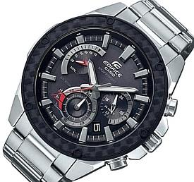 CASIO/EDIFICE【カシオ/エディフィス】ソーラー腕時計 クロノグラフ メンズ カーボンパネルベゼル ブラック文字盤 メタルベルト 海外モデル【並行輸入品】 EQS-910D-1AV