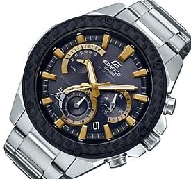CASIO/EDIFICE【カシオ/エディフィス】ソーラー腕時計 クロノグラフ メンズ カーボンパネルベゼル ブラック/ゴールド文字盤 メタルベルト 海外モデル【並行輸入品】 EQS-910D-1BV