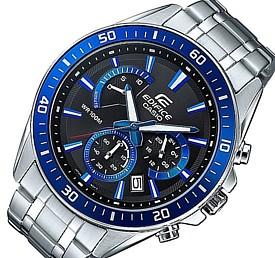 CASIO/EDIFICE【カシオ/エディフィス】クロノグラフ メンズ腕時計 ブラック/ブルー文字盤 メタルベルト 海外モデル【並行輸入品】 EFR-552D-1A2