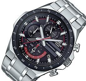 CASIO/EDIFICE【カシオ/エディフィス】ソーラー腕時計 クロノグラフ メンズ ブラックベゼル ブラック文字盤 メタルベルト 海外モデル【並行輸入品】 EQS-920DB-1AV