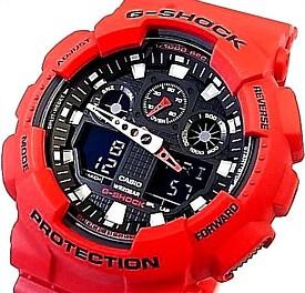 CASIO/G-SHOCK【カシオ/Gショック】アナデジ メンズ腕時計 レッドラバーベルト 海外モデル【並行輸入品】 GA-100B-4A