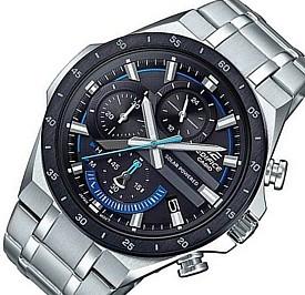 CASIO/EDIFICE【カシオ/エディフィス】ソーラー腕時計 クロノグラフ メンズ ブラックベゼル ブラック文字盤 メタルベルト 海外モデル【並行輸入品】 EQS-920DB-1BV