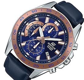 CASIO/EDIFICE【カシオ/エディフィス】クロノグラフ メンズ腕時計 ネイビー文字盤 ネイビーレザーベルト 海外モデル【並行輸入品】 EFV-550L-2A