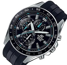 CASIO/EDIFICE【カシオ/エディフィス】クロノグラフ メンズ腕時計 ブラック文字盤 ブラックラバーベルト 海外モデル【並行輸入品】 EFV-550P-1A