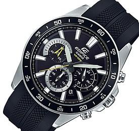 CASIO/EDIFICE【カシオ/エディフィス】クロノグラフ メンズ腕時計 ブラック文字盤 ラバーベルト 海外モデル【並行輸入品】 EFV-570P-1A