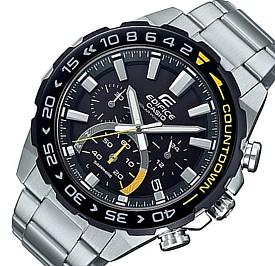 CASIO/EDIFICE【カシオ/エディフィス】ソーラー腕時計 クロノグラフ メンズ ブラックベゼル ブラック文字盤 メタルベルト 海外モデル【並行輸入品】 EFS-S550DB-1AV