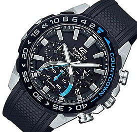 CASIO/EDIFICE【カシオ/エディフィス】ソーラー腕時計 クロノグラフ メンズ ブラックベゼル ブラック文字盤 ラバーベルト 海外モデル【並行輸入品】 EFS-S550PB-1AV
