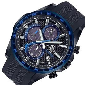 CASIO/EDIFICE【カシオ/エディフィス】ソーラー腕時計 クロノグラフ メンズ ブラックケース ブラック(カーボンファイバー)文字盤 ブラックラバーベルト 海外モデル【並行輸入品】 EQS-900PB-1BV