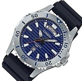 CASIO/Standard【カシオ/スタンダード】メンズ腕時計 ネイビー文字盤 ブラックラバーベルト 海外モデル【並行輸入品】MTD-1087-2A
