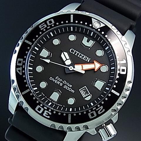 CITIZEN/PROMASTER【シチズン/プロマスター】メンズ腕時計 エコドライブ 200M防水ダイバーズ ブラック文字盤 ブラックラバーベルト MADE IN JAPAN BN0156-05E 国内正規品