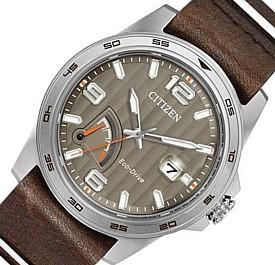 CITIZEN/Standard【シチズン/スタンダード】メンズ ソーラー腕時計 パワーリザーブ付 ライトブラウン文字盤 ダークブラウンレザーベルト 海外モデル【並行輸入品】 AW7039-01H