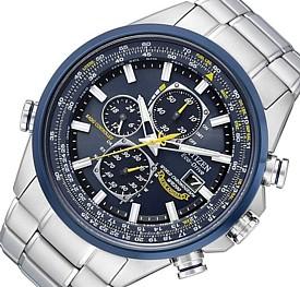 CITIZEN【シチズン】メンズ ソーラー電波腕時計 ワールドクロノグラフ ブルーエンジェルス ネイビー文字盤 メタルベルト 海外モデル【並行輸入品】 AT8020-54L