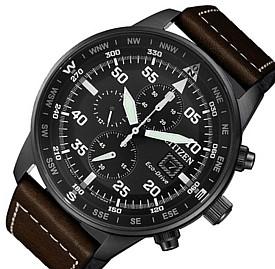 CITIZEN/Chronograph【シチズン/クロノグラフ】メンズ ソーラー腕時計 ブラックケース ブラック文字盤 ブラウンレザーベルト CA0695-17E 海外モデル【並行輸入品】