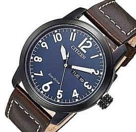 CITIZEN/エコドライブ【シチズン】メンズ ソーラー腕時計 ブラックケース ネイビー文字盤 ブラウンレザーベルト BM8478-01L 海外モデル【並行輸入品】