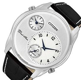 CITIZEN/Dual Time【シチズン/デュアルタイム】メンズ腕時計 シルバー文字盤 ブラックレザーベルト AO3030-24A 海外モデル【並行輸入品】